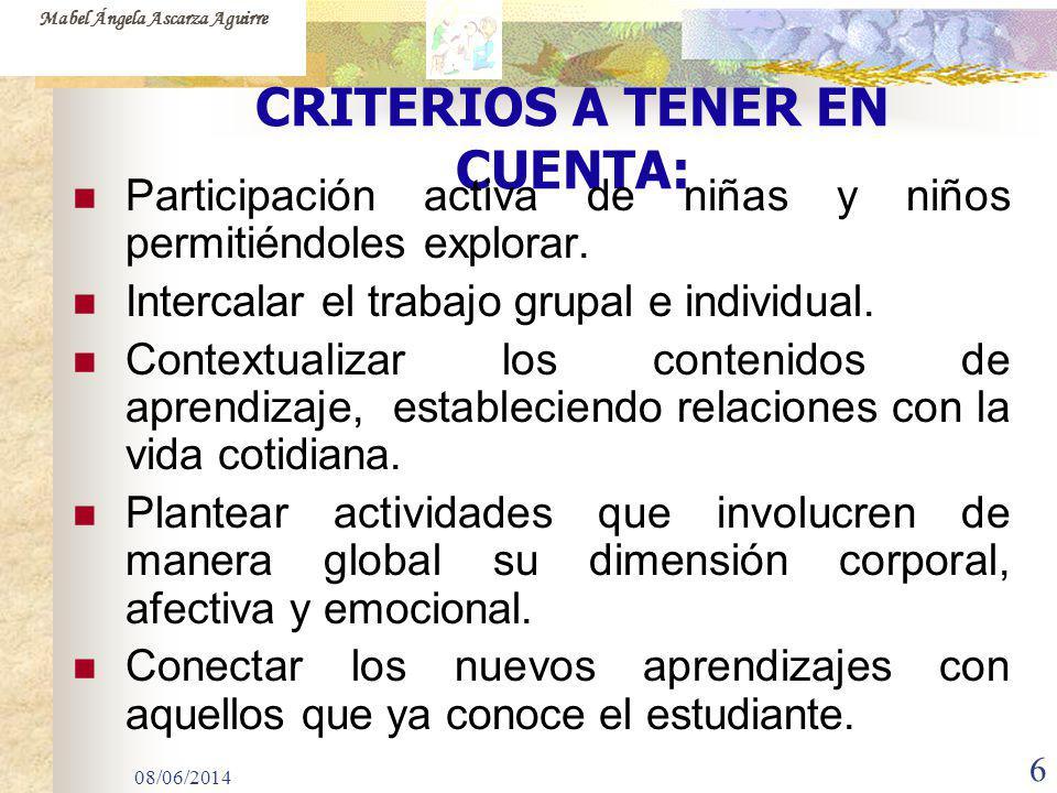 CRITERIOS A TENER EN CUENTA:
