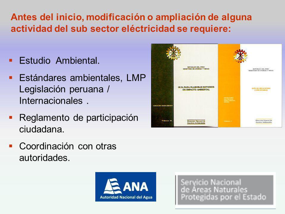 Antes del inicio, modificación o ampliación de alguna actividad del sub sector eléctricidad se requiere: