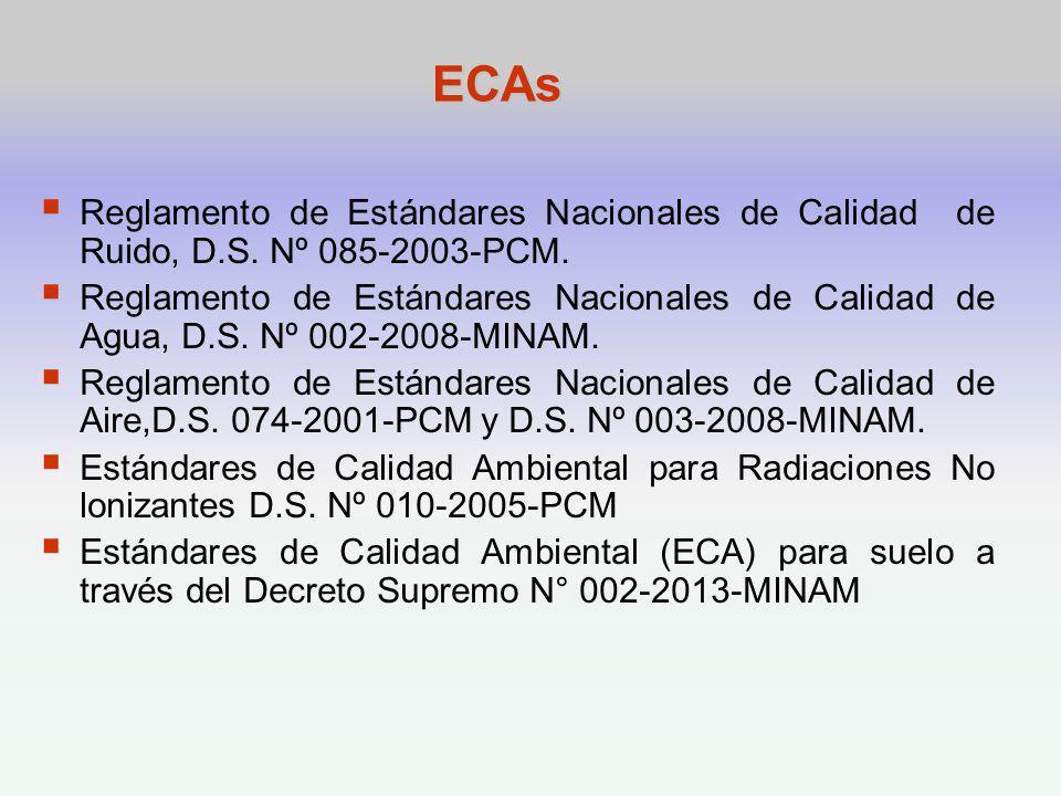 ECAs Reglamento de Estándares Nacionales de Calidad de Ruido, D.S. Nº 085-2003-PCM.