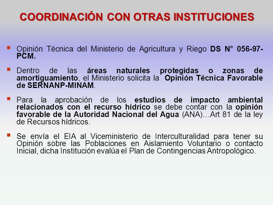 COORDINACIÓN CON OTRAS INSTITUCIONES
