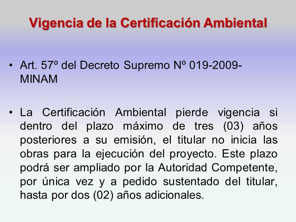 Vigencia de la Certificación Ambiental