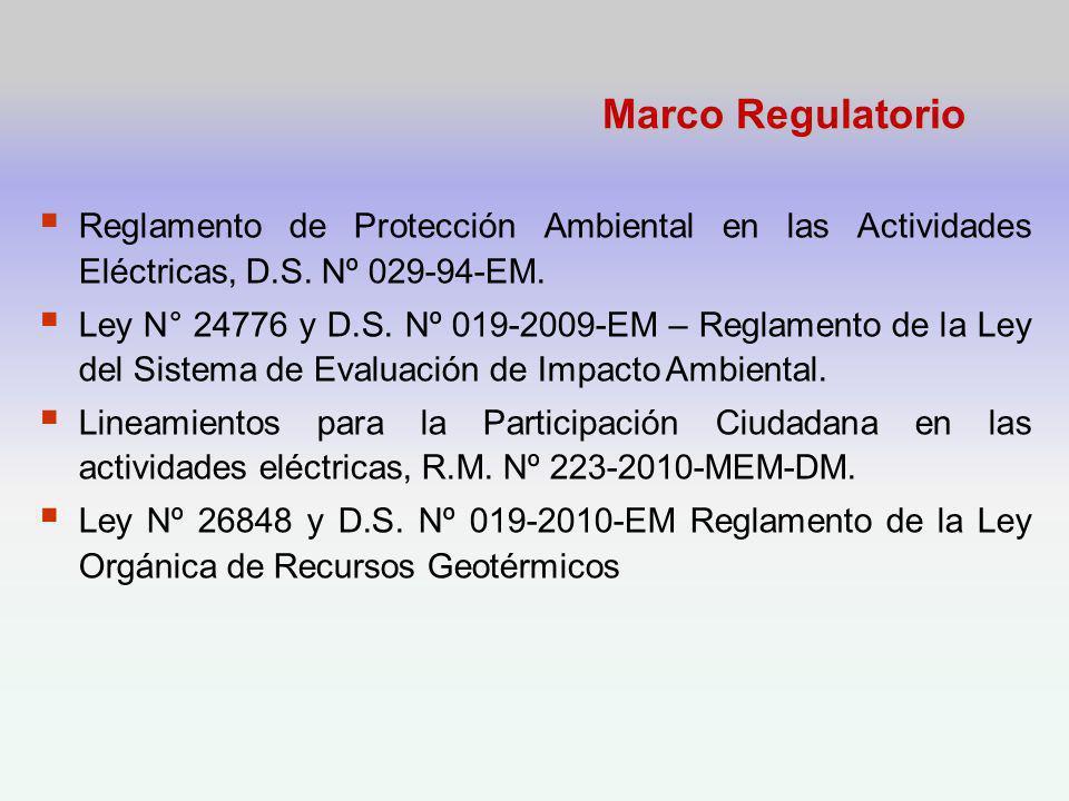 Marco Regulatorio Reglamento de Protección Ambiental en las Actividades Eléctricas, D.S. Nº 029-94-EM.