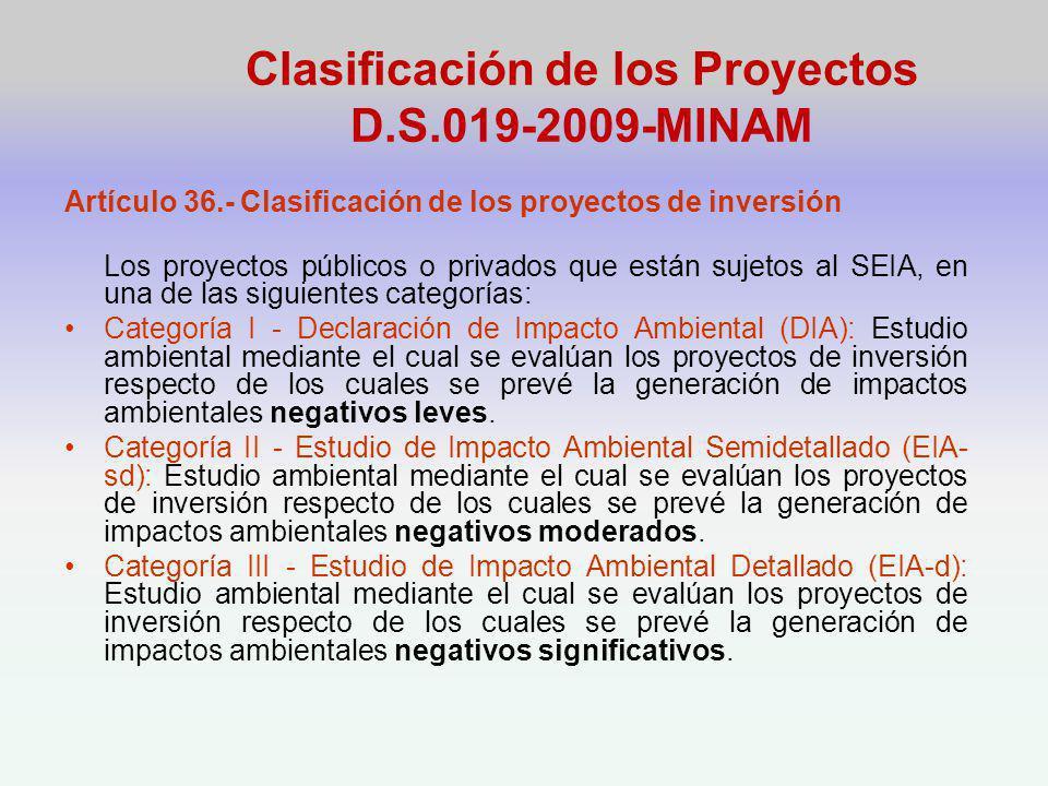 Clasificación de los Proyectos D.S.019-2009-MINAM