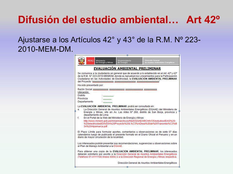 Difusión del estudio ambiental… Art 42º