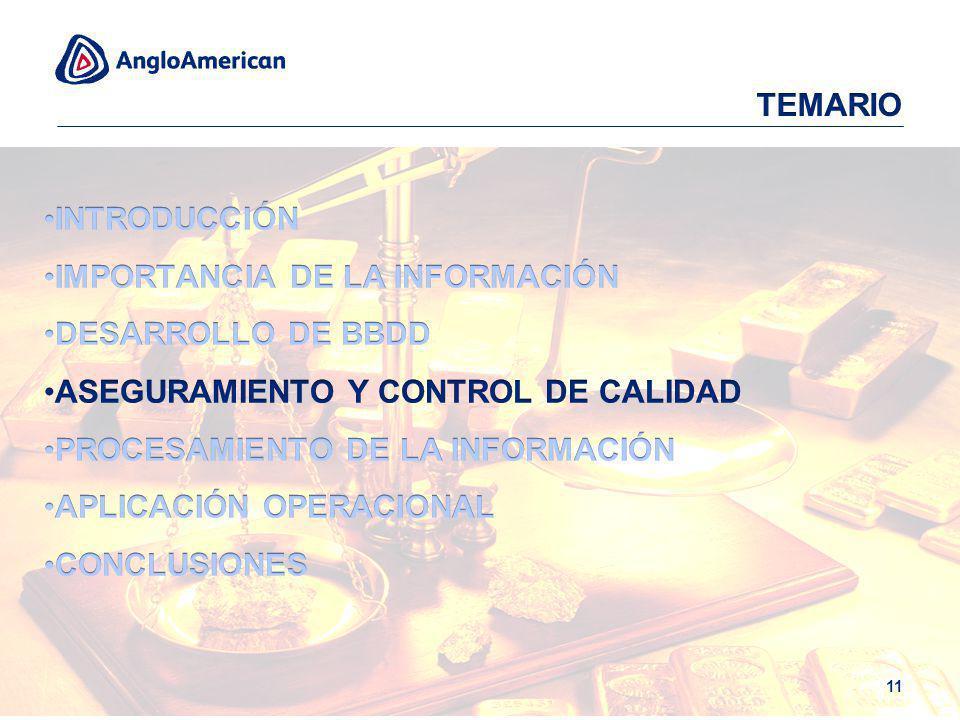 TEMARIO INTRODUCCIÓN. IMPORTANCIA DE LA INFORMACIÓN. DESARROLLO DE BBDD. ASEGURAMIENTO Y CONTROL DE CALIDAD.