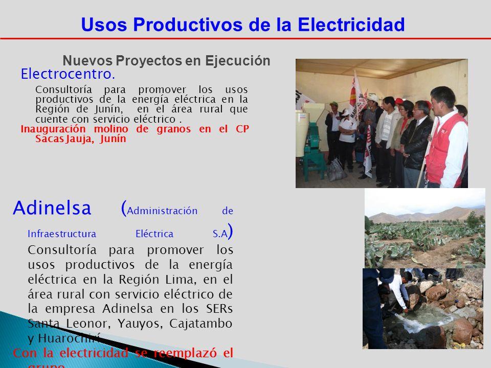 Usos Productivos de la Electricidad Nuevos Proyectos en Ejecución