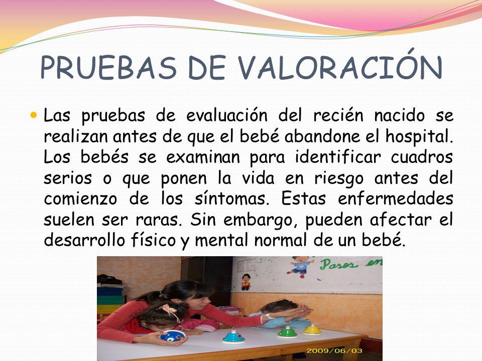 PRUEBAS DE VALORACIÓN