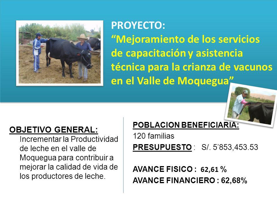 PROYECTO: Mejoramiento de los servicios de capacitación y asistencia técnica para la crianza de vacunos en el Valle de Moquegua