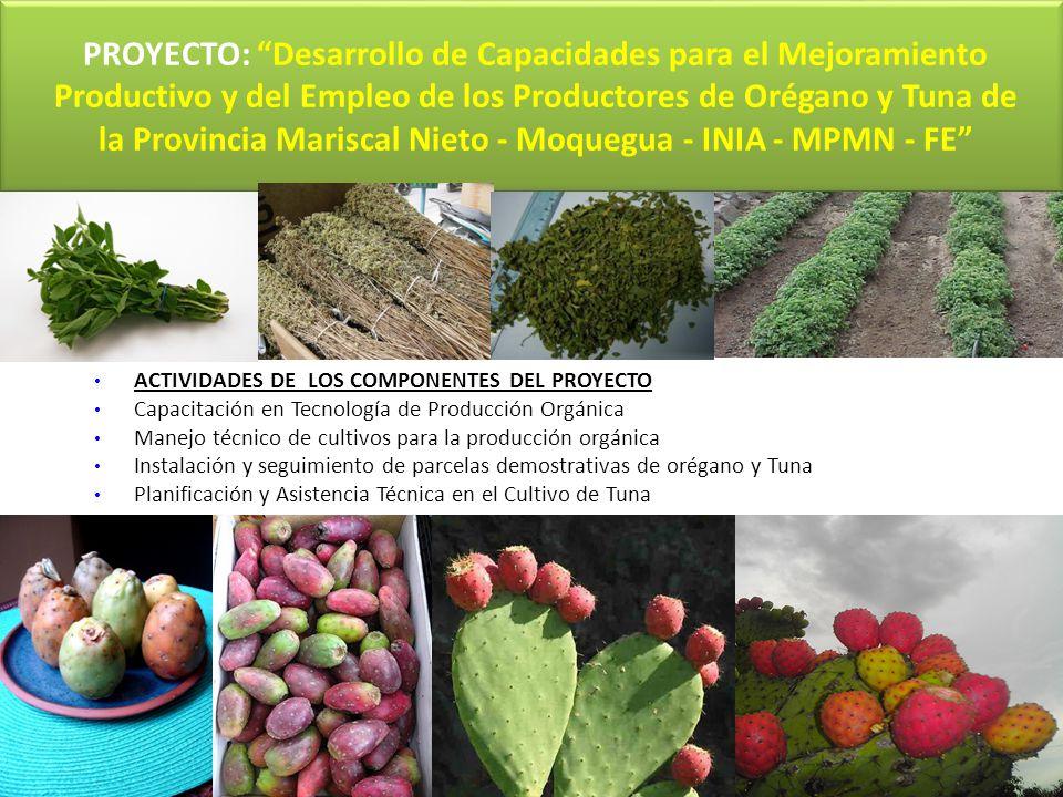 PROYECTO: Desarrollo de Capacidades para el Mejoramiento Productivo y del Empleo de los Productores de Orégano y Tuna de la Provincia Mariscal Nieto - Moquegua - INIA - MPMN - FE