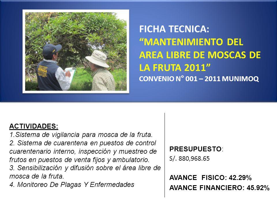 FICHA TECNICA: MANTENIMIENTO DEL AREA LIBRE DE MOSCAS DE LA FRUTA 2011