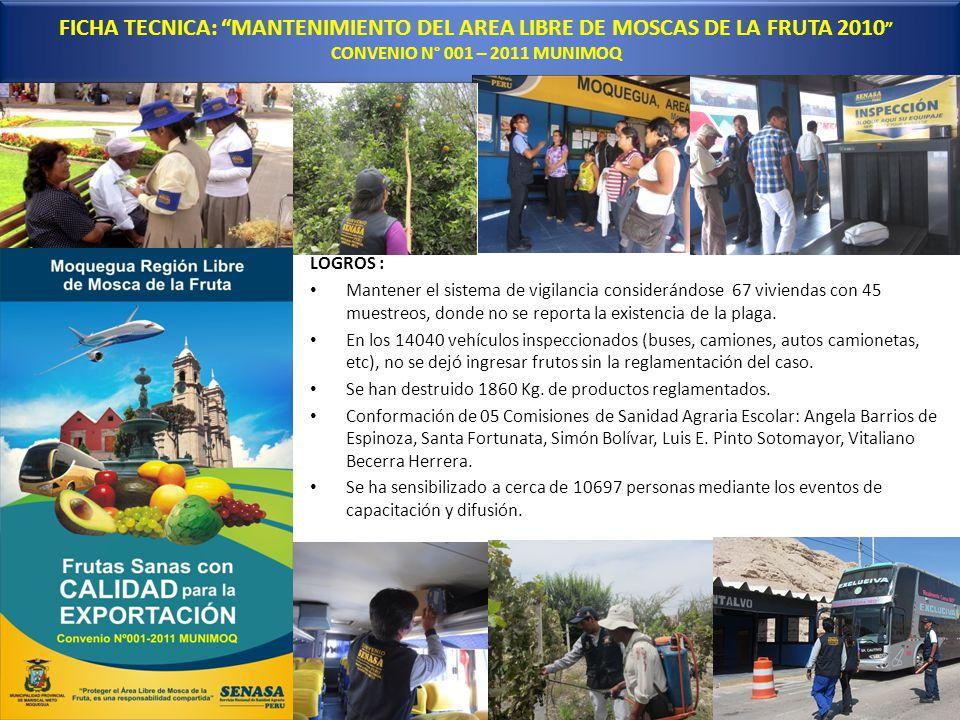 FICHA TECNICA: MANTENIMIENTO DEL AREA LIBRE DE MOSCAS DE LA FRUTA 2010 CONVENIO N° 001 – 2011 MUNIMOQ