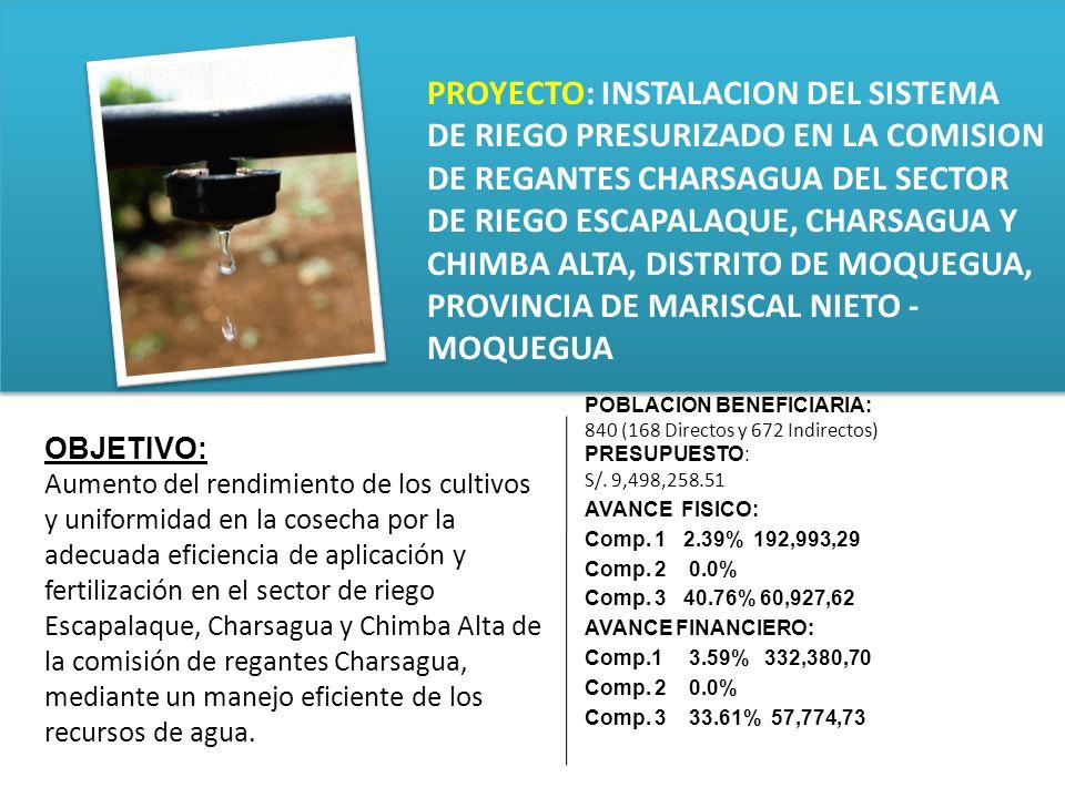 PROYECTO: INSTALACION DEL SISTEMA DE RIEGO PRESURIZADO EN LA COMISION DE REGANTES CHARSAGUA DEL SECTOR DE RIEGO ESCAPALAQUE, CHARSAGUA Y CHIMBA ALTA, DISTRITO DE MOQUEGUA, PROVINCIA DE MARISCAL NIETO - MOQUEGUA