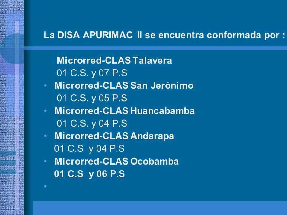 La DISA APURIMAC II se encuentra conformada por :