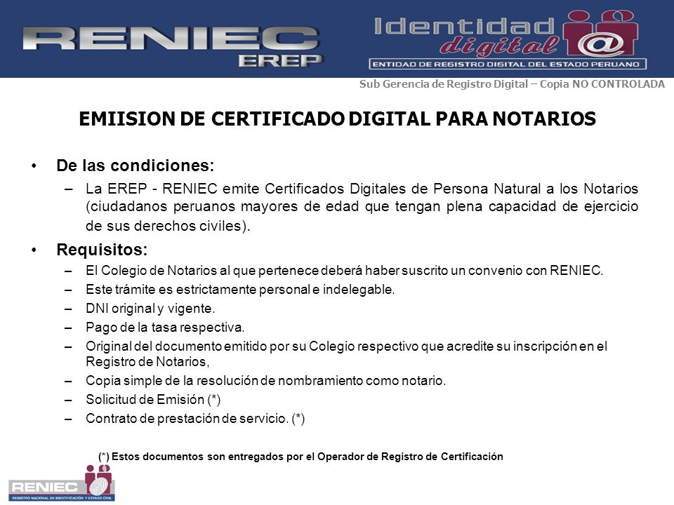 EMIISION DE CERTIFICADO DIGITAL PARA NOTARIOS