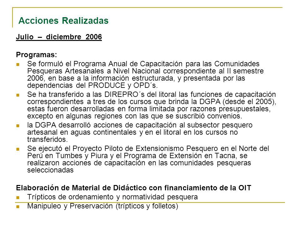 Acciones Realizadas Julio – diciembre 2006 Programas: