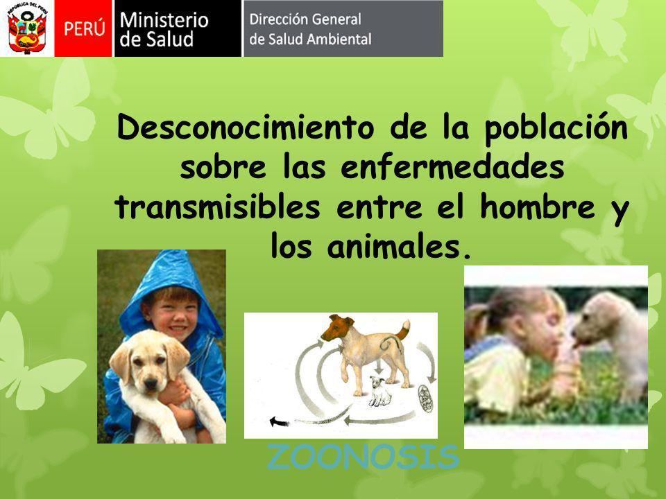Desconocimiento de la población sobre las enfermedades transmisibles entre el hombre y los animales.