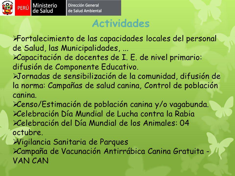 Actividades Fortalecimiento de las capacidades locales del personal de Salud, las Municipalidades, ...