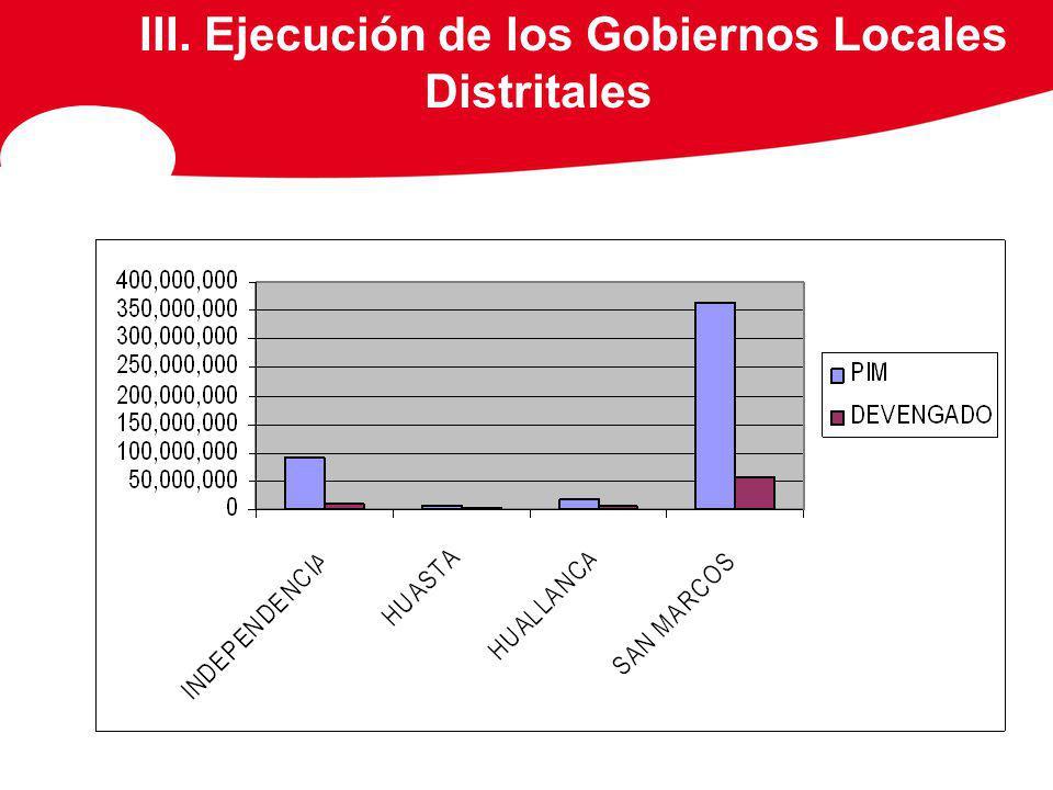 III. Ejecución de los Gobiernos Locales