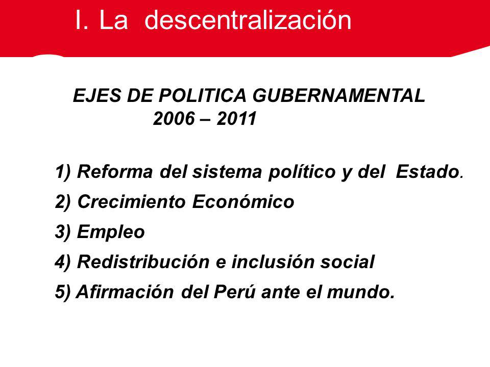 La descentralización 2006 – 2011