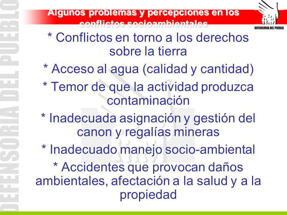 Algunos problemas y percepciones en los conflictos socioambientales