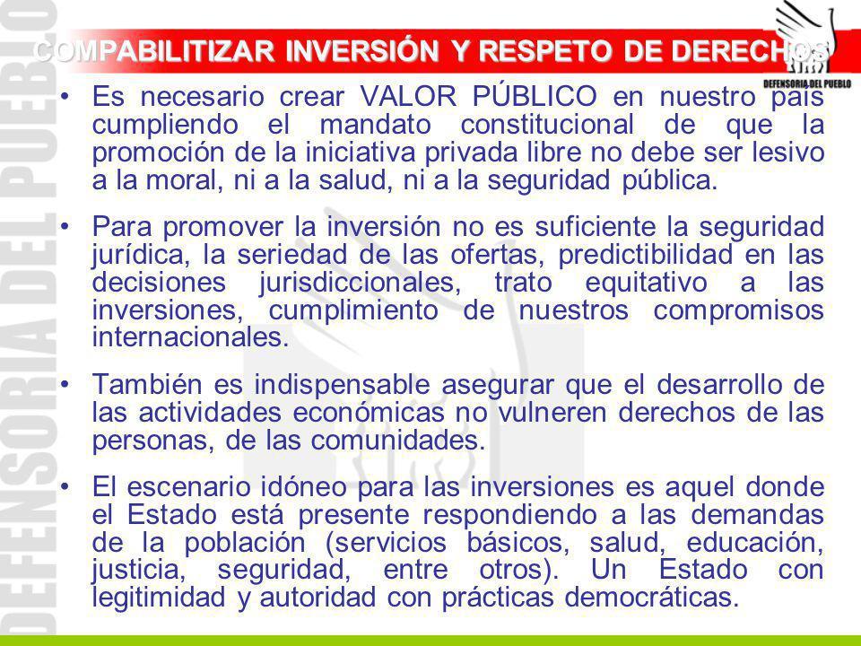 COMPABILITIZAR INVERSIÓN Y RESPETO DE DERECHOS