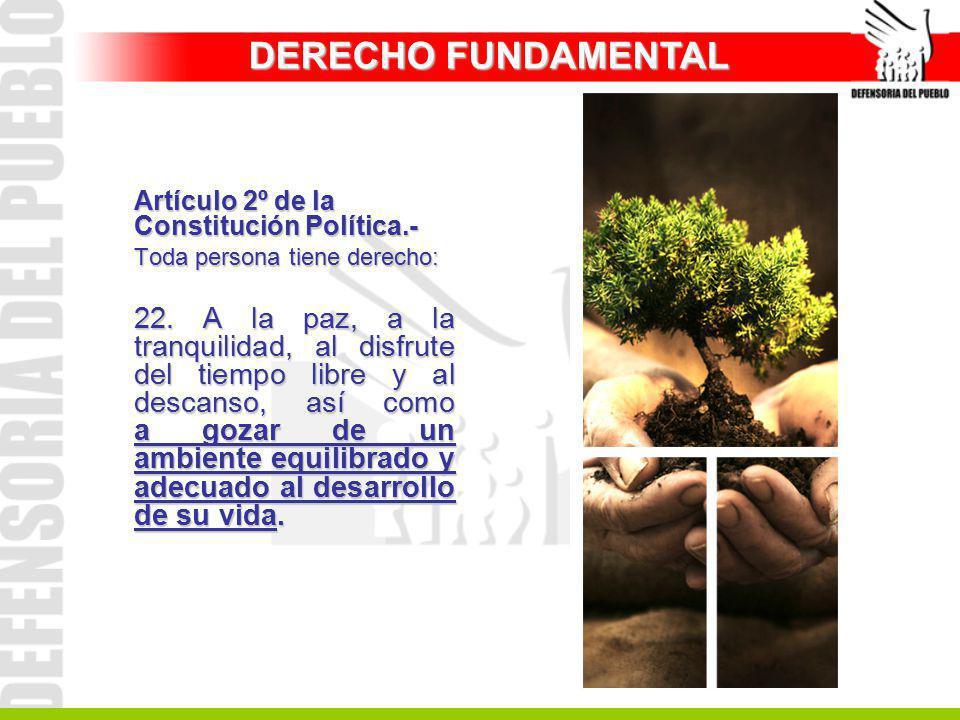 DERECHO FUNDAMENTAL Artículo 2º de la Constitución Política.- Toda persona tiene derecho: