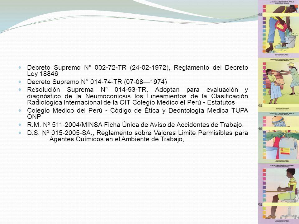 Decreto Supremo N° 002-72-TR (24-02-1972), Reglamento del Decreto Ley 18846