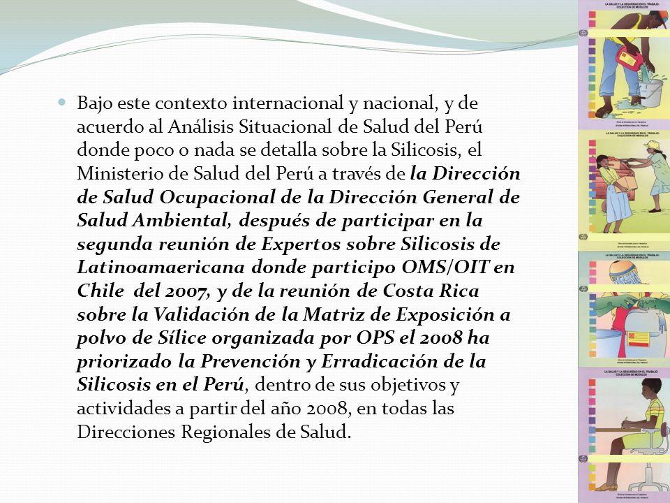 Bajo este contexto internacional y nacional, y de acuerdo al Análisis Situacional de Salud del Perú donde poco o nada se detalla sobre la Silicosis, el Ministerio de Salud del Perú a través de la Dirección de Salud Ocupacional de la Dirección General de Salud Ambiental, después de participar en la segunda reunión de Expertos sobre Silicosis de Latinoamaericana donde participo OMS/OIT en Chile del 2007, y de la reunión de Costa Rica sobre la Validación de la Matriz de Exposición a polvo de Sílice organizada por OPS el 2008 ha priorizado la Prevención y Erradicación de la Silicosis en el Perú, dentro de sus objetivos y actividades a partir del año 2008, en todas las Direcciones Regionales de Salud.