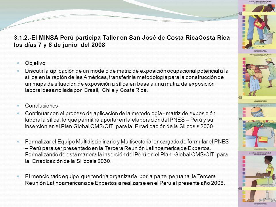 3.1.2.-El MINSA Perú participa Taller en San José de Costa RicaCosta Rica los días 7 y 8 de junio del 2008