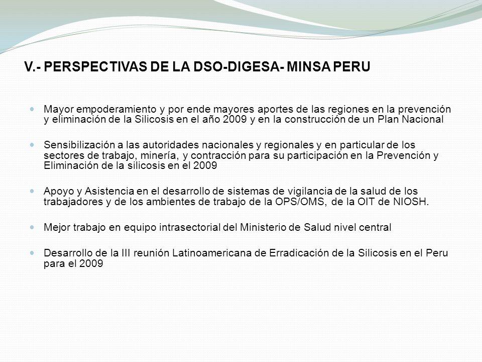 V.- PERSPECTIVAS DE LA DSO-DIGESA- MINSA PERU