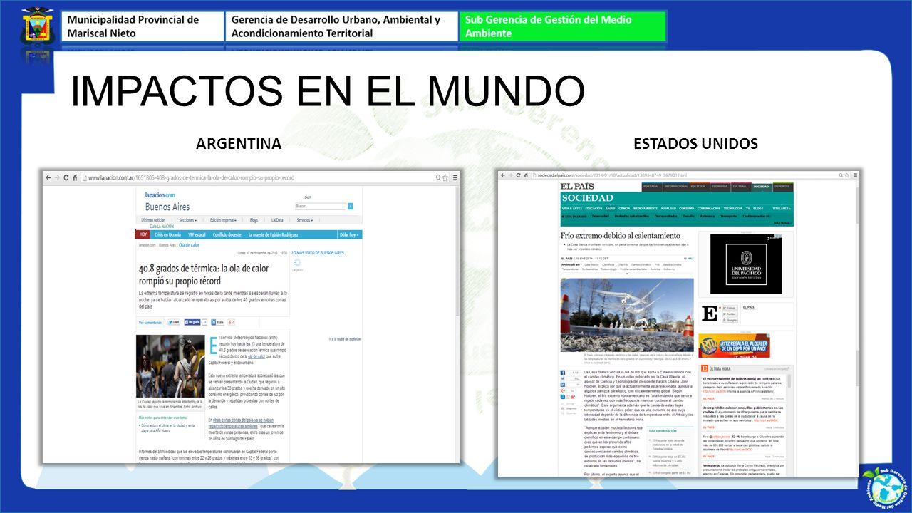 IMPACTOS EN EL MUNDO ARGENTINA ESTADOS UNIDOS