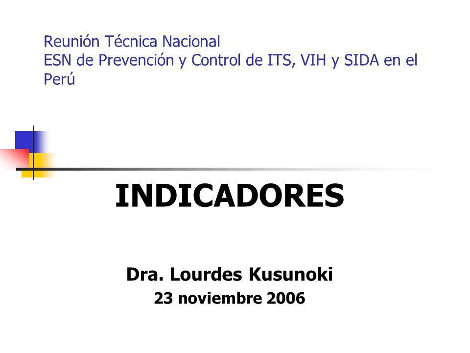 INDICADORES Dra. Lourdes Kusunoki 23 noviembre 2006