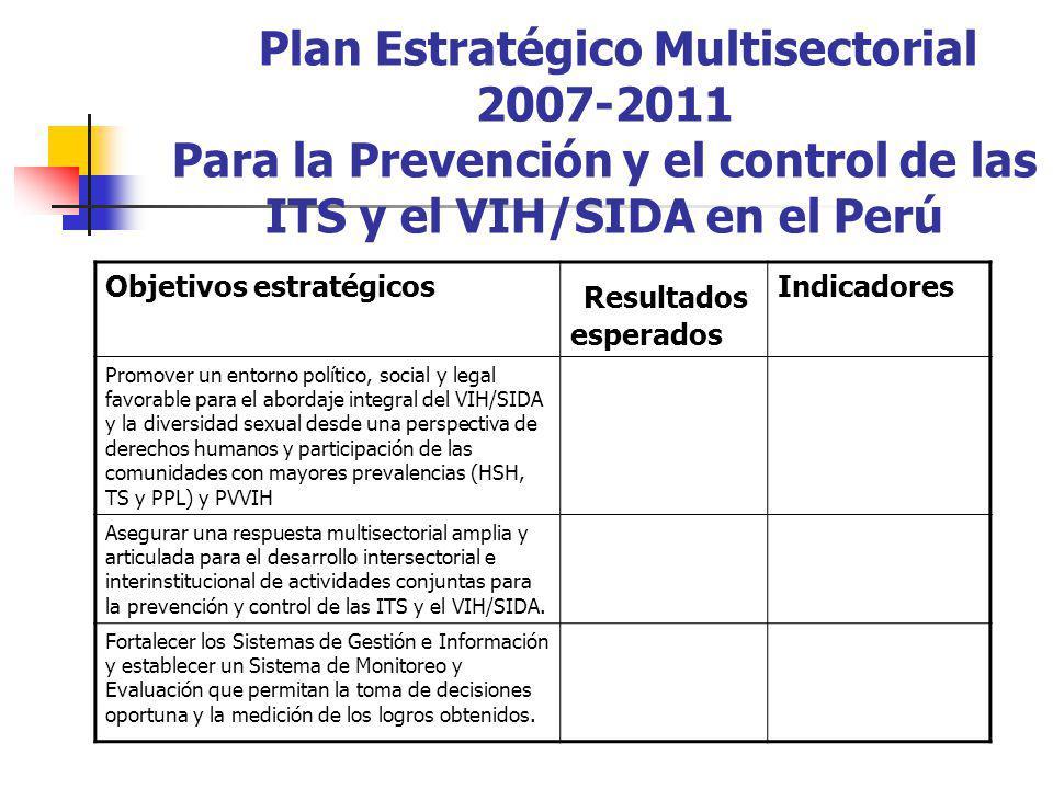 Plan Estratégico Multisectorial 2007-2011 Para la Prevención y el control de las ITS y el VIH/SIDA en el Perú