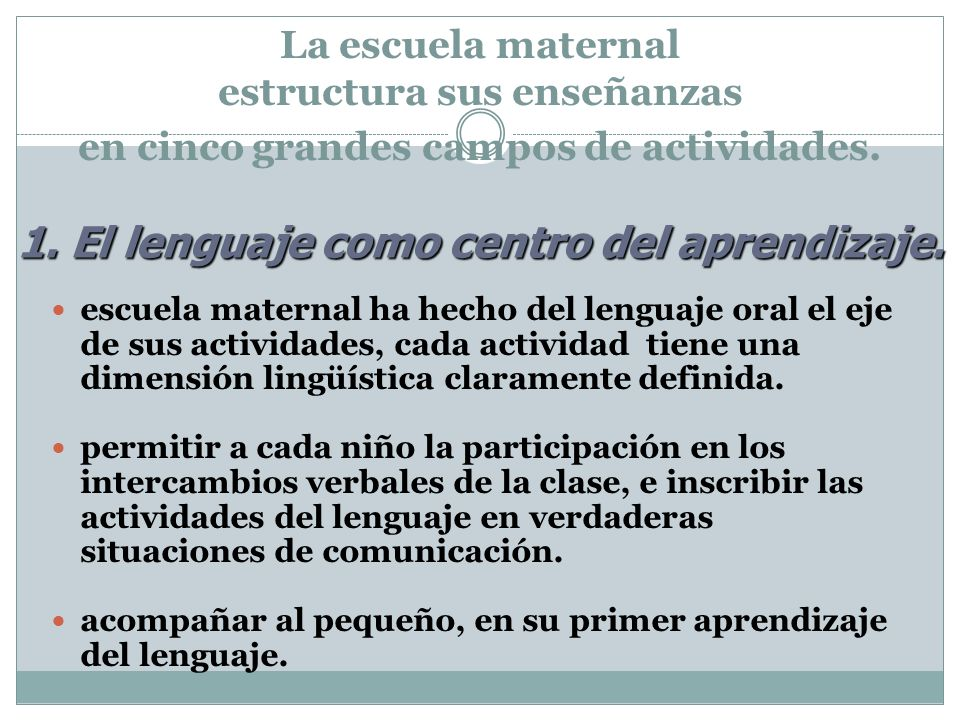 1. El lenguaje como centro del aprendizaje.