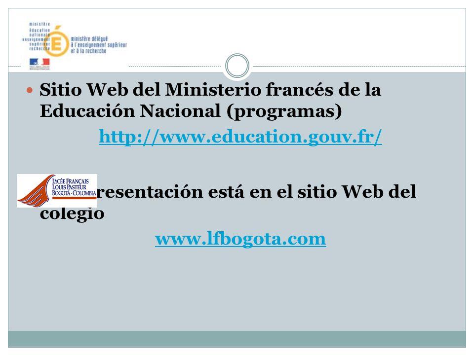 Sitio Web del Ministerio francés de la Educación Nacional (programas)