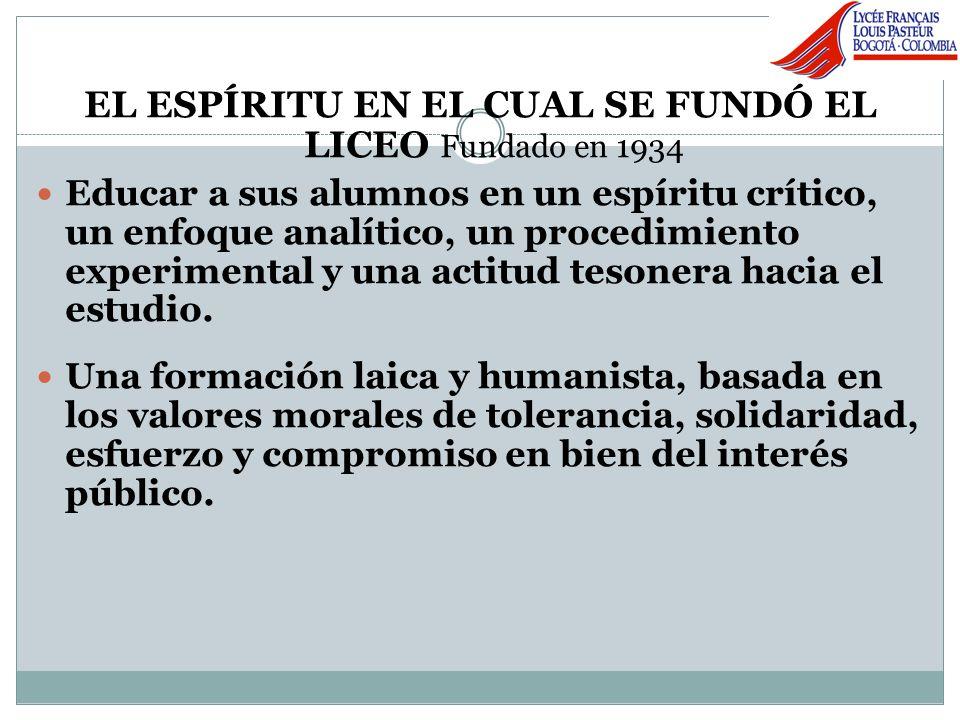 EL ESPÍRITU EN EL CUAL SE FUNDÓ EL LICEO Fundado en 1934