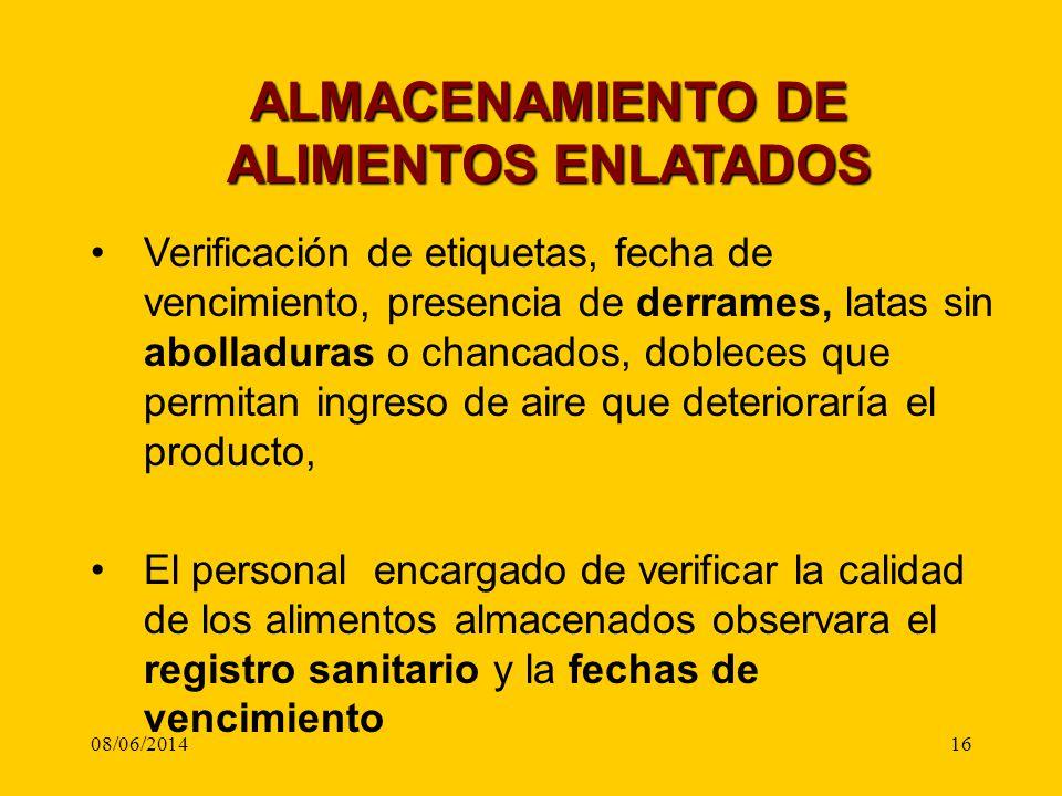 ALMACENAMIENTO DE ALIMENTOS ENLATADOS