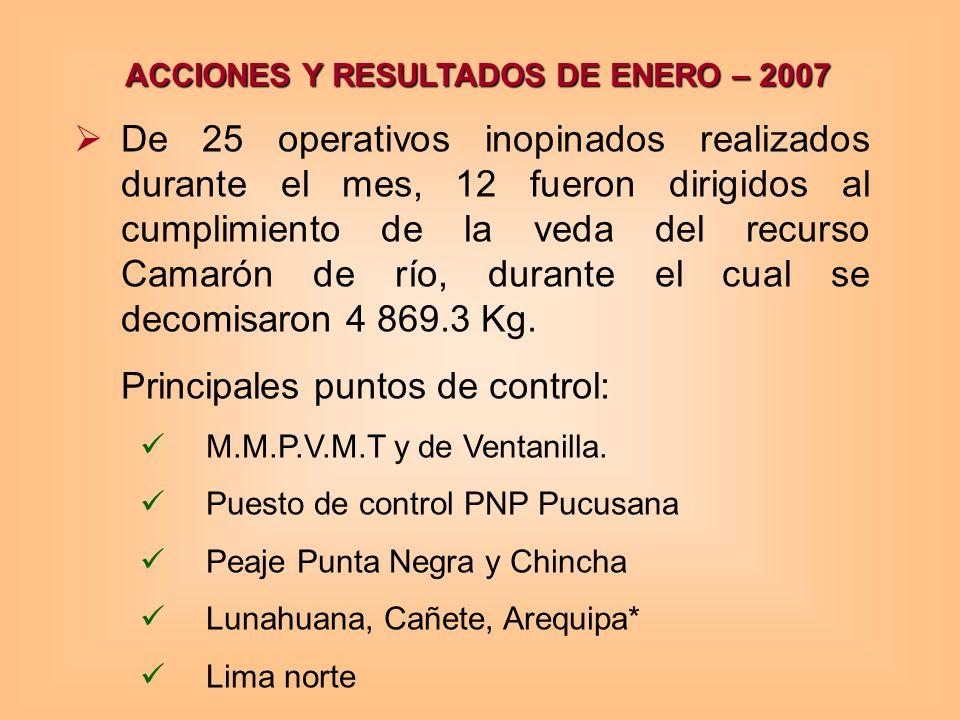 ACCIONES Y RESULTADOS DE ENERO – 2007