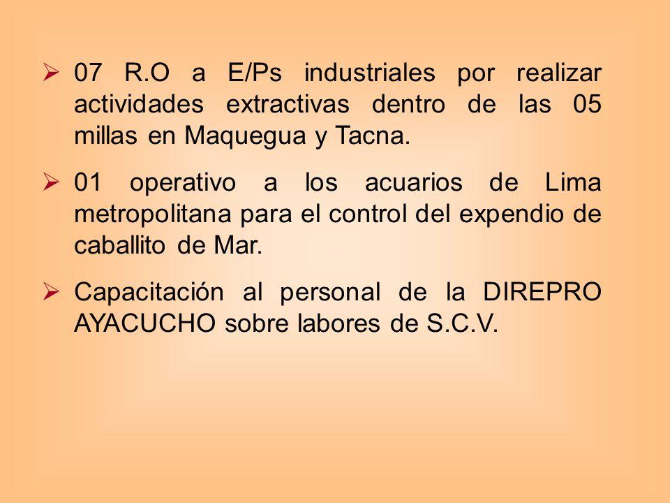 OE 1.1._DIGSECOVI 07 R.O a E/Ps industriales por realizar actividades extractivas dentro de las 05 millas en Maquegua y Tacna.
