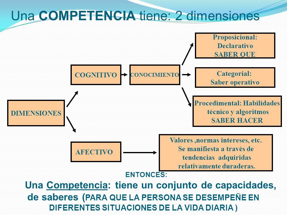 Una COMPETENCIA tiene: 2 dimensiones