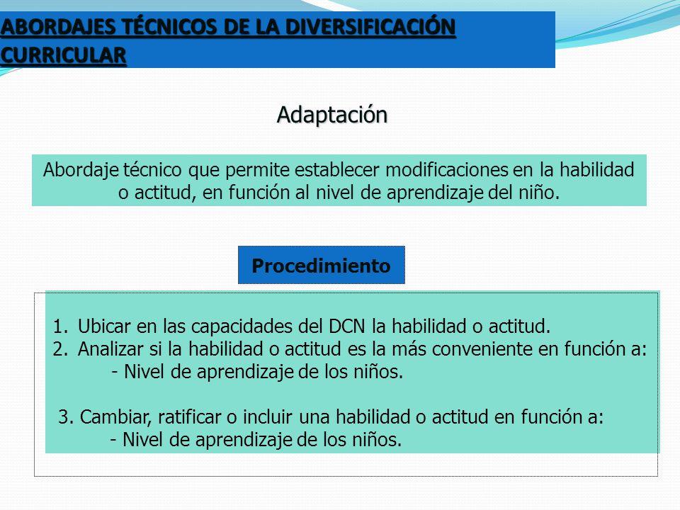 ABORDAJES TÉCNICOS DE LA DIVERSIFICACIÓN CURRICULAR
