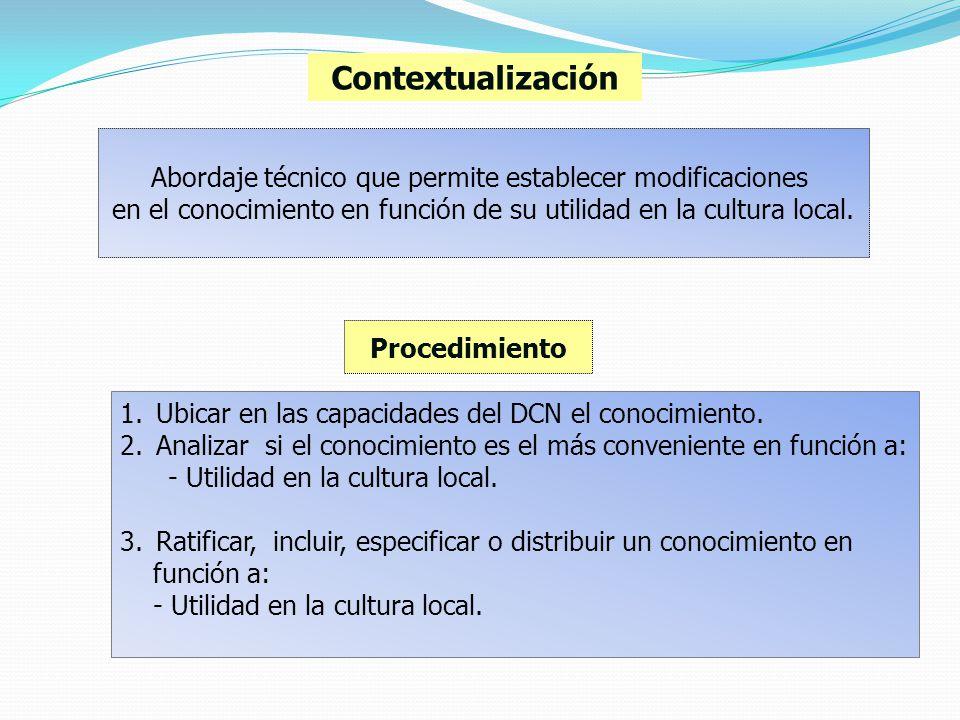 Contextualización Abordaje técnico que permite establecer modificaciones. en el conocimiento en función de su utilidad en la cultura local.
