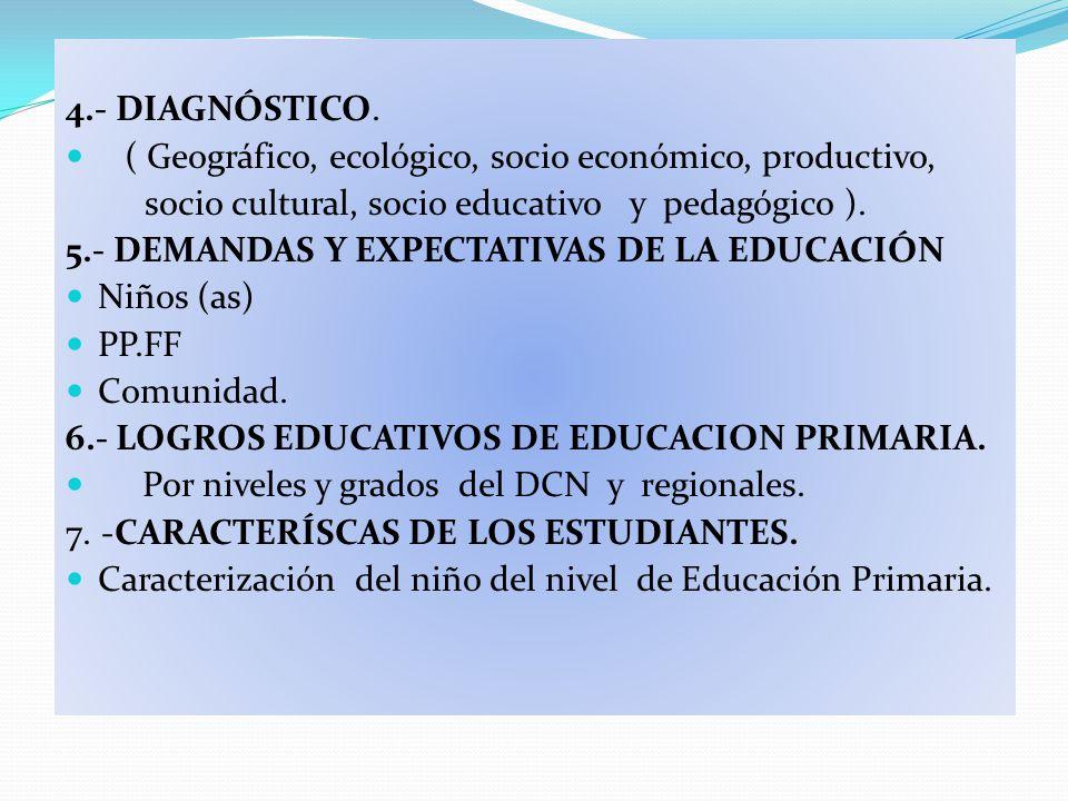 4.- DIAGNÓSTICO. ( Geográfico, ecológico, socio económico, productivo, socio cultural, socio educativo y pedagógico ).