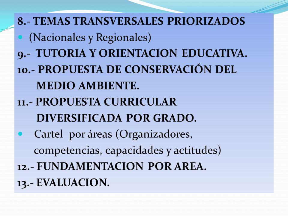 8.- TEMAS TRANSVERSALES PRIORIZADOS