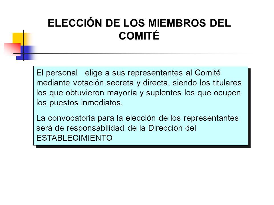 ELECCIÓN DE LOS MIEMBROS DEL COMITÉ