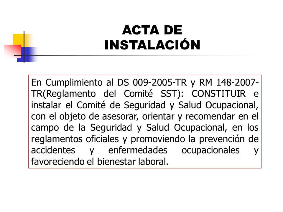 ACTA DE INSTALACIÓN