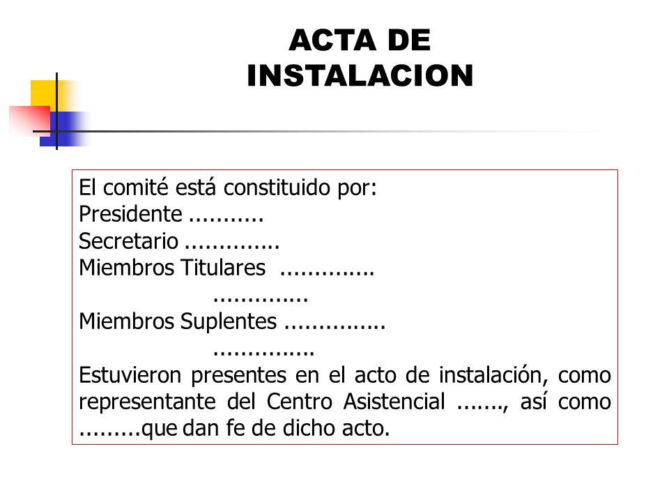 ACTA DE INSTALACION El comité está constituido por:
