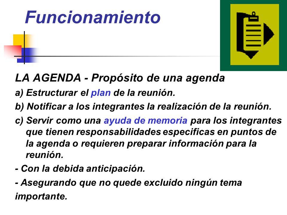Funcionamiento LA AGENDA - Propósito de una agenda