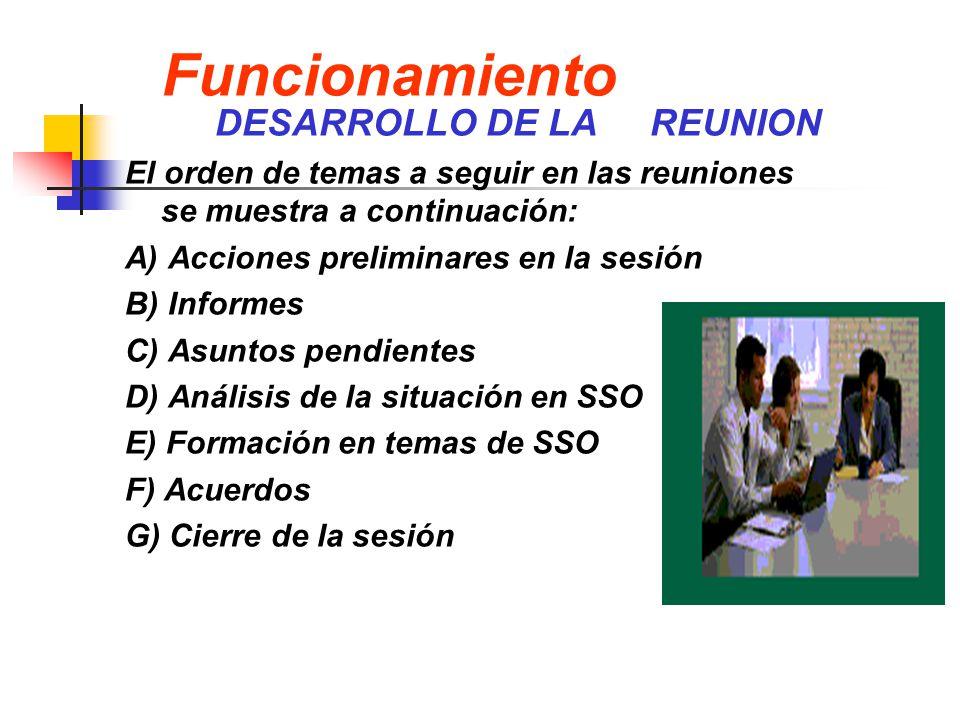 Funcionamiento DESARROLLO DE LA REUNION