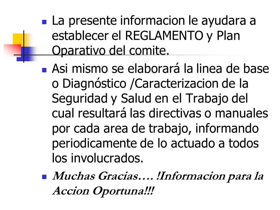 La presente informacion le ayudara a establecer el REGLAMENTO y Plan Oparativo del comite.